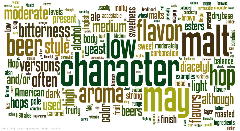 rappresentazione visiva delle parole pesate della descrizione degli stili del BJCP